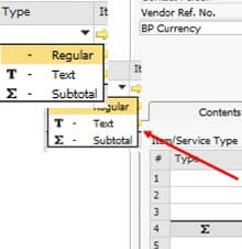 Add Text or subtotal in SAP Business One marketing document – item type - SAP Business One Tips