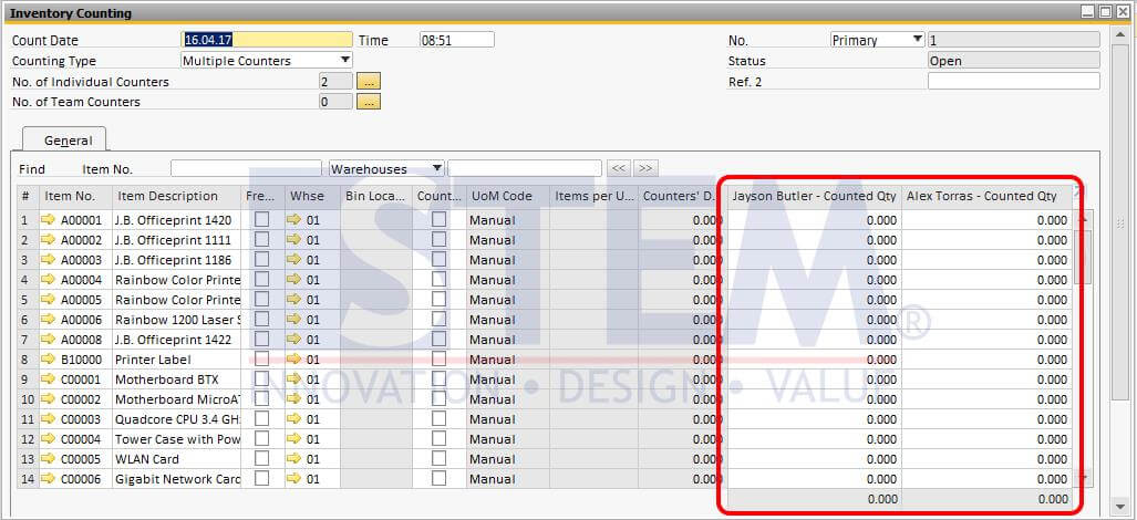 STEM-SAP_Business_One_Tips-Multiple_Counter_In_Inventory_Counting-03