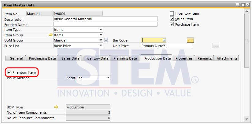 Set up phantom item in SAP Business One Master Item