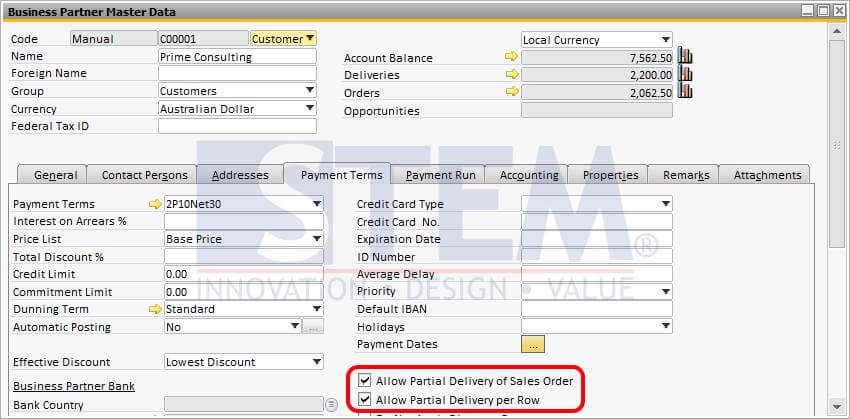 SAP Business One Tips - STEM - Allowing Partial Delivery To Customer