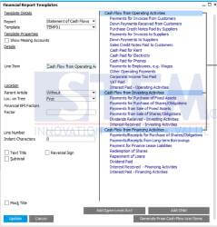 using formula in statement of cash flow report sap business one
