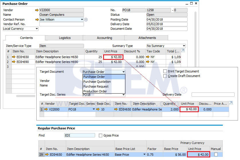 Create PO From SO Using Procurement Document on SAP B1