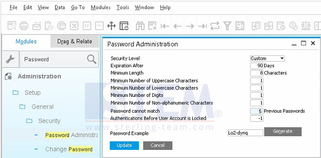 Using Password Administration for Custom Your Password Security Level