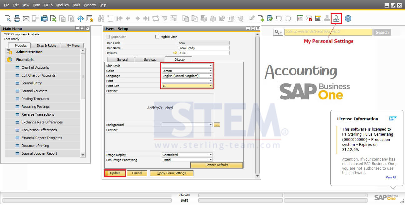 Manage and Edit My Personal Settings on SAP Business One