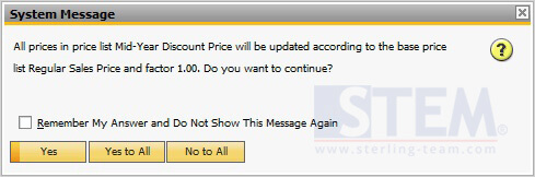 Pop Up Question on Price Update Wizard