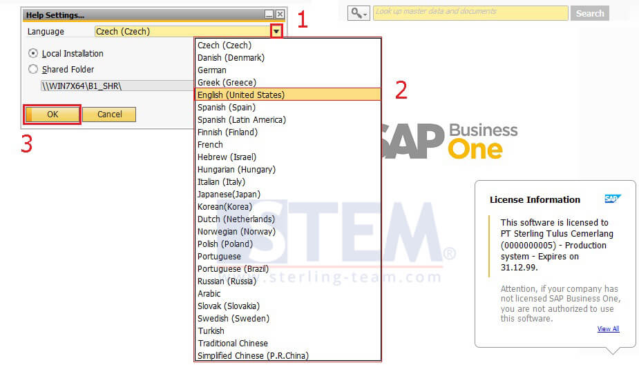 How to Change Language of Online Help SAP Business One 9.3