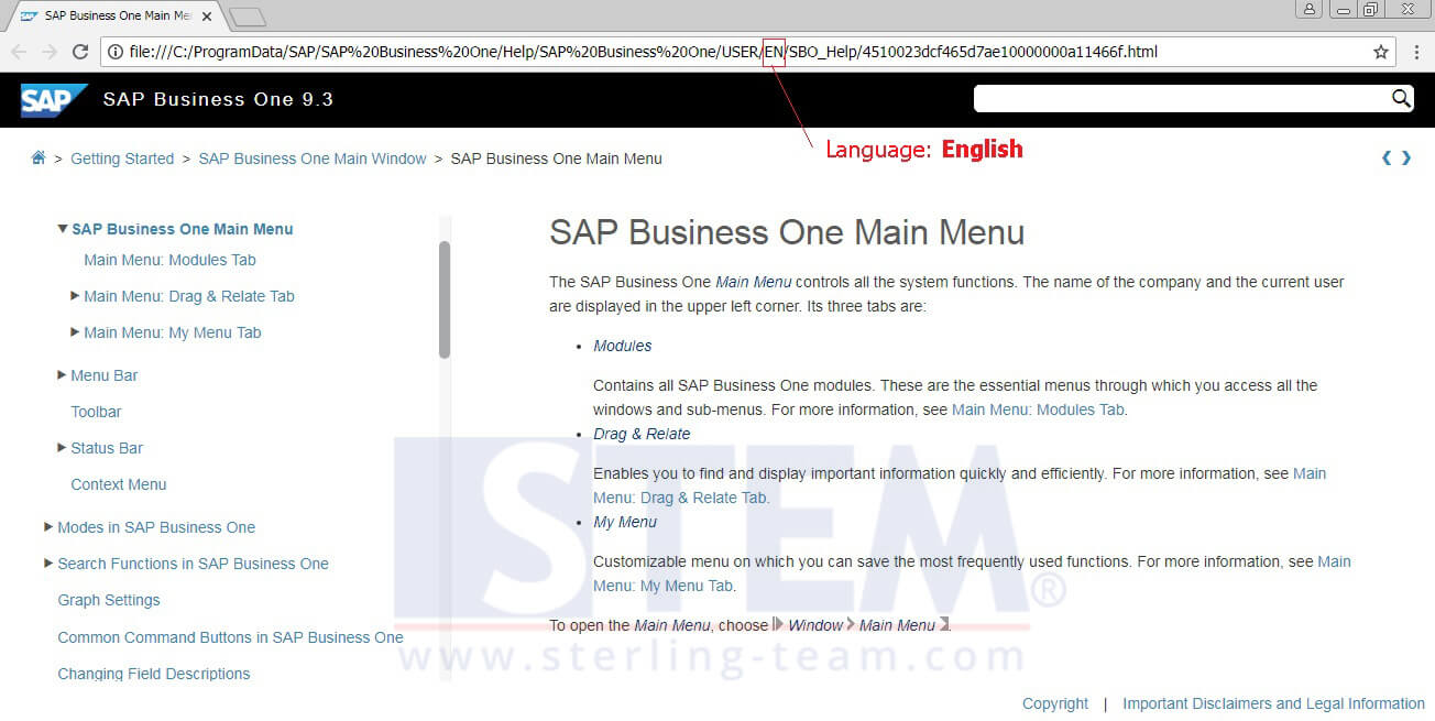 Change Language of Online Help SAP Business One 9.3