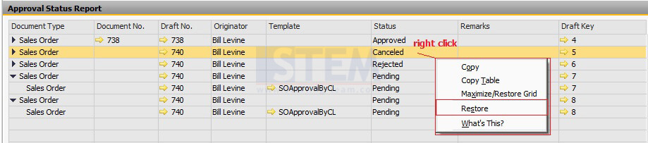 Change Your Approval Status on Approval Status Report