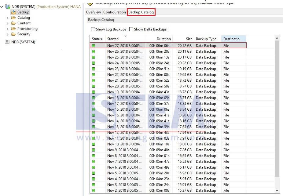 Clean Backup Log on SAP HANA Server with SAP HANA Studio