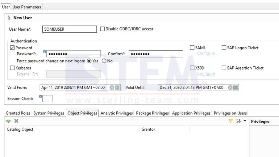 Create Database User HANA