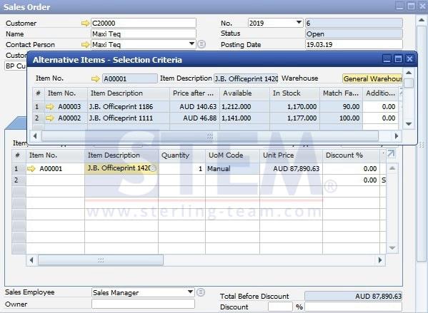 SAP Business One Tips - STEM SAP Gold Partner Indonesia - Set Alternative Items on SAP B1