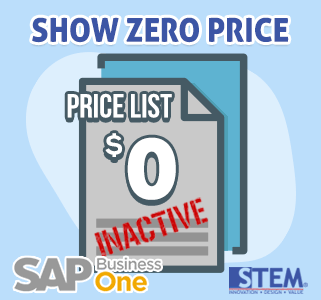 SAP Business One Tips Show Zero Price