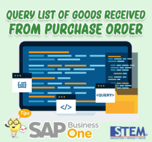 SAP BusinessOne Tips Query List of Goods Received