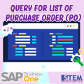 SAP Business One Tips Query for List of PO