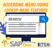SAP Business One Tips Accessing Menu Using Lookup Menu
