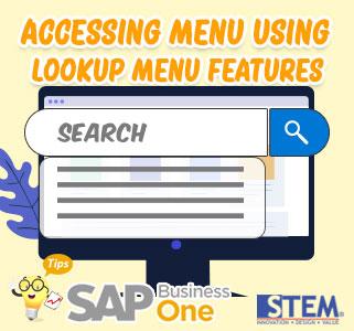 SAP Business One Tips Accessing Menu Using Lookup Menu
