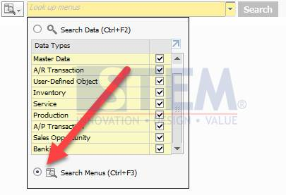 SAP Business One Tips Accessing Menu Using Lookup Menu Features