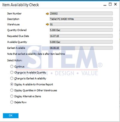 SAP Business One Tips - Automatic Availability Check