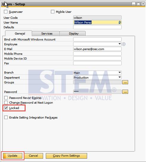 SAP-Business-One-Tips-STEM-Locked-Function-in User-Setup-01