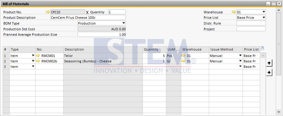 SAP Business One Tips - Bill of Material Screen