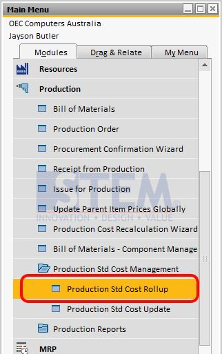 SAP Business One Tips - Production Std Cost Rollup Menu