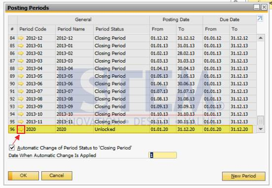 SAP Business One Tips - Posting Period Screen