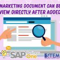 SAP Business One Tips Indonesia Marketing Document Can Be View After Added Directly