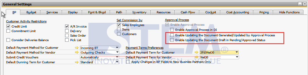 SAP Business One Tips STEM - Changes of Documents in the Approval Process