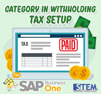 SAP Business One Tips Category in Withholding Tax Setup