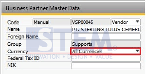 SAP Business One Tips - Currency Options are Disabled on Payment Means