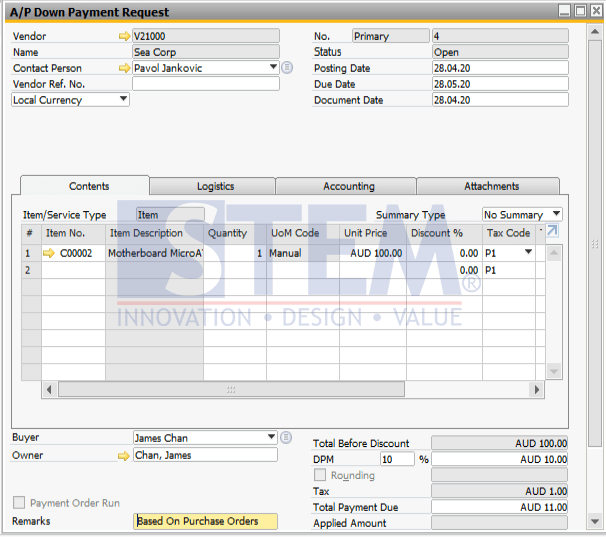 SAP Business One Tips - Down Payment Request vs Down Payment Invoice