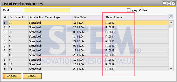 SAP Business One Tips - Change Display on Choose From ListUsing Display Description