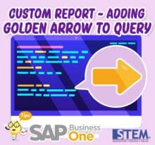 SAP Business One Tips Custom report Adding Golden Arrow to Query