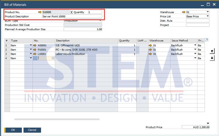 SAP Business One Tips - Bill of Materials (BoM) Description Enhancement