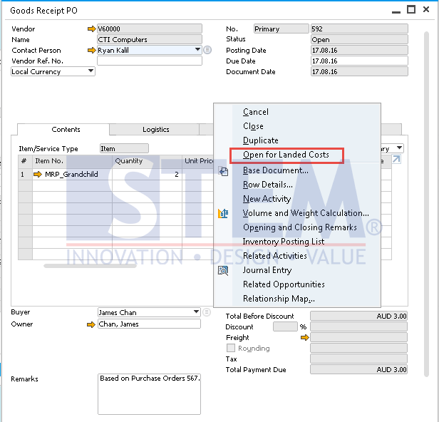 SAP Business One Tips - Cancel Landed Cost Document