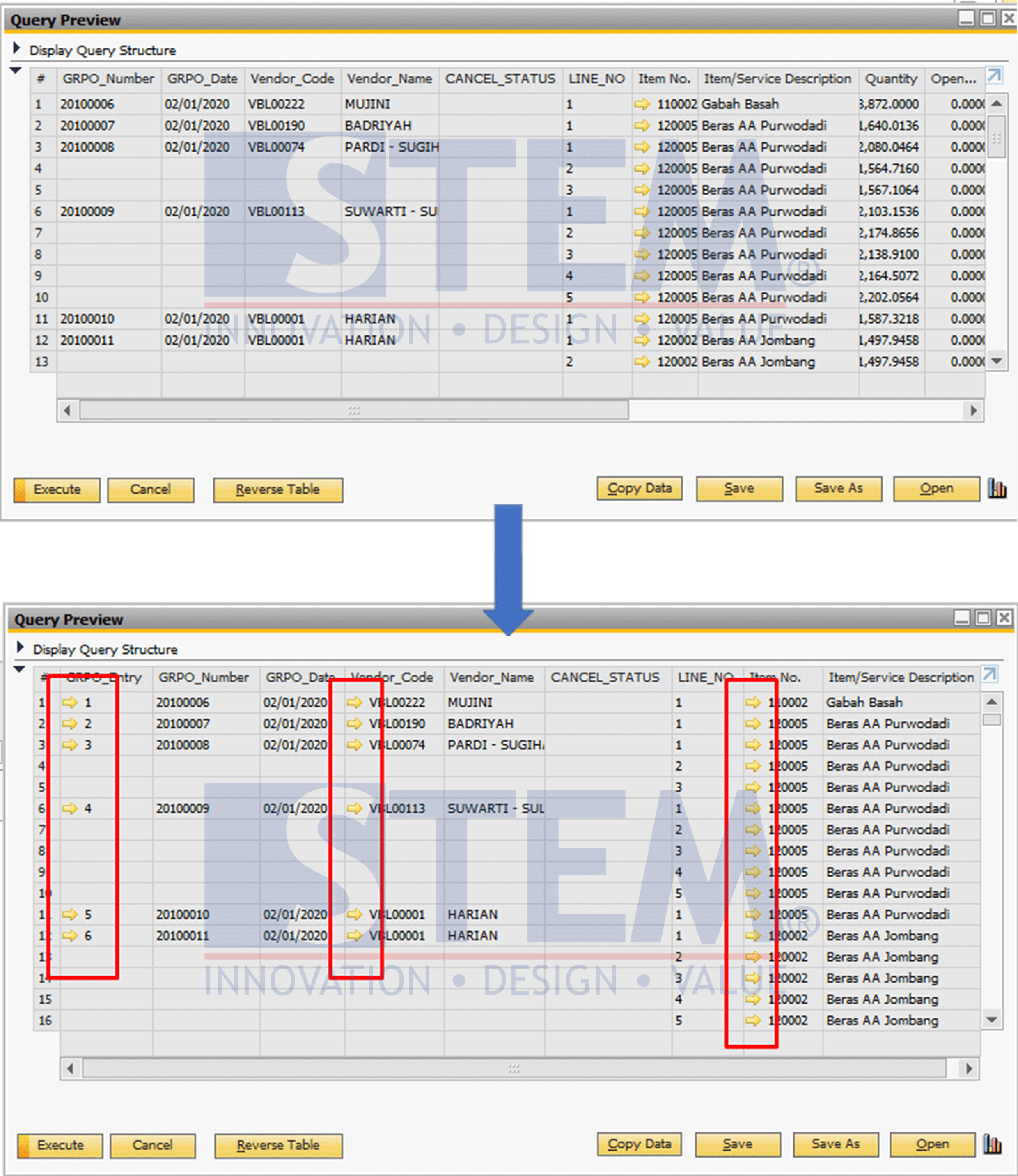 SAP Business One Tips - Custom Report - Adding Golden Arrows to Queries