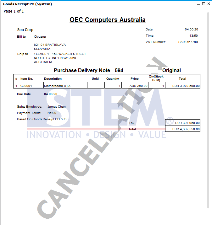 SAP Business One Tips - Displays Canceled and Cancelation Watermarks