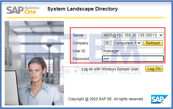 SAP Business One Tips - Logon to SAP Business One Microsoft 365 Integration Set Up Page