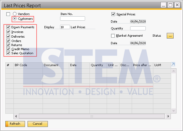 SAP Business One Tips - Using the Last Price Report