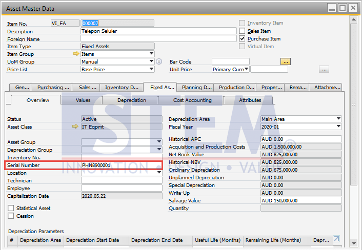 SAP Business One Tips - Virtual Item in Fixed Asset Master Data