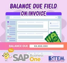 SAP Business One Tips Balance Due on Invoice