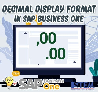 SAP Business One Tips Decimal Display Format