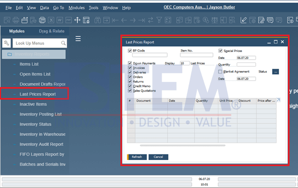 SAP Business One Tips - Monitoring the Last Purchase Price and the Last Selling Price