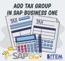SAP Business One Tips Add Tax Group