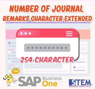 SAP Business One Tips Number of Journal Remarks Character Extended