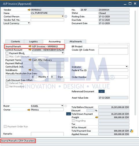 SAP Business One Tips - Number of Journal Remarks Character Extended