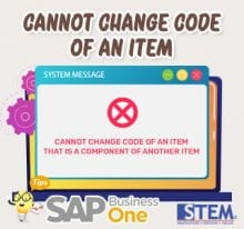 SAP Business One Tips Cannot Change Code of an Item