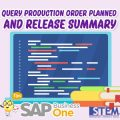 SAP Business One Tips Query Production Order Planned And Release Summary