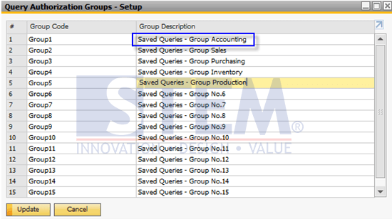 SAP Business One Tips - Change Description Group Saved Query
