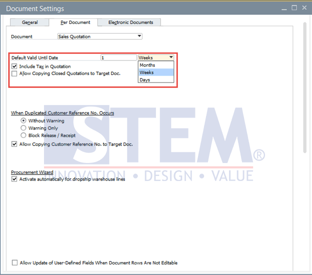 SAP Business One Tips - Default Valid Until Date for Sales Quotation Document